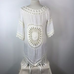Epic Designs Sweaters - NWT Boho Fringe Sunburst Crochet Kimono